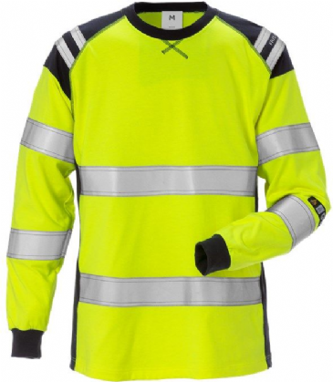 Fristads Flamestat Long Sleeve T-Shirt Woman Class 3 7097 TFLH (High Vis Yellow/Navy)